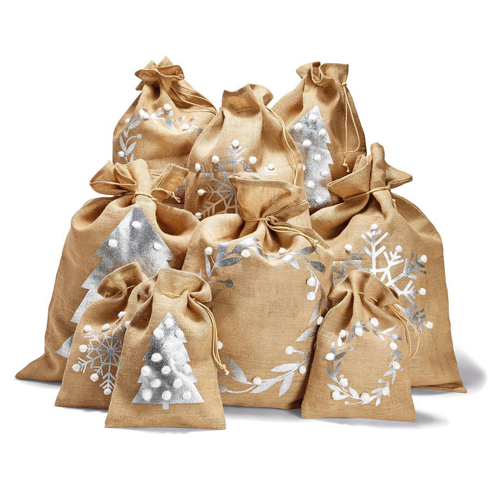"Jute Drawstring Gift Bag with Pom Poms - Snowflake (28"" h)"
