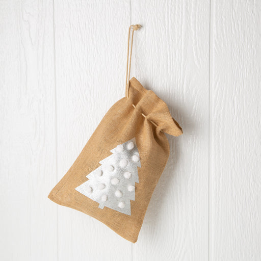 "Jute Drawstring Gift Bag with Pom Poms - Tree (14"" h)"