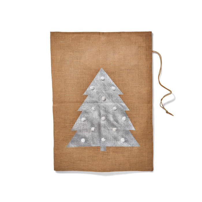 "Jute Drawstring Gift Bag with Pom Poms - Tree (28"" h)"