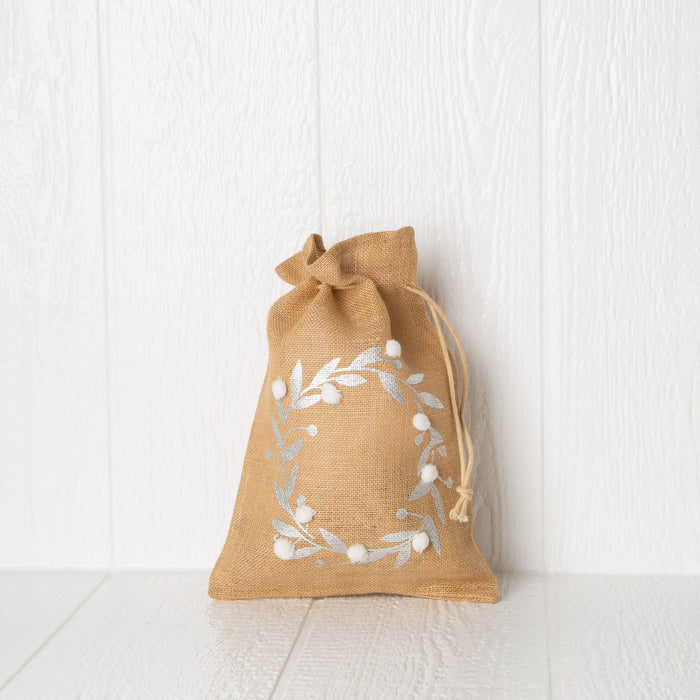 "Jute Drawstring Gift Bag with Pom Poms - Wreath (14"" h)"
