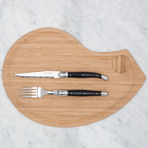 Laguiole Bamboo Carving Board with Fork & Knife