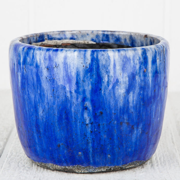Large Blue Crackle Planter Pot