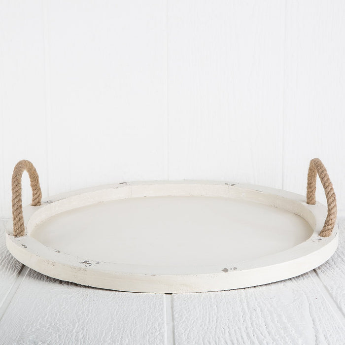Large Circular Wood Tray