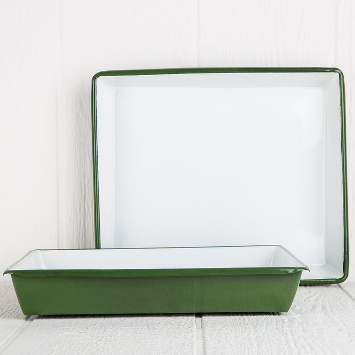 Large Green Decorative Metal Tray