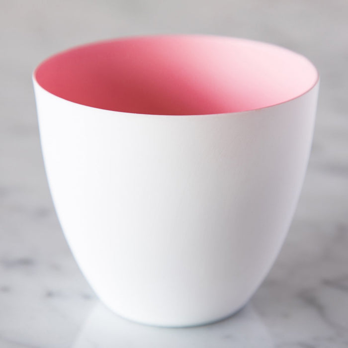 "Large Pastel Pink Biscuit Porcelain Tealight Holder (3.125"" h)"