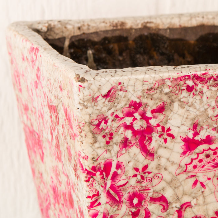 "Large Pink Floral Square Planter (8"" h)"