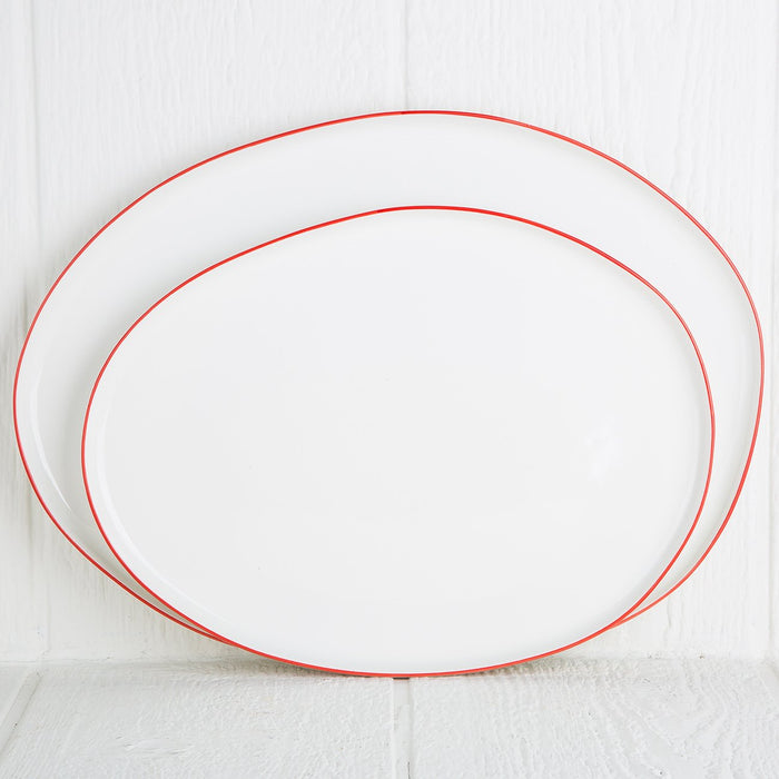 Large Red Rimmed Serving Platter