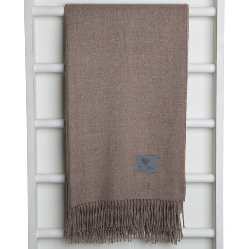 Latte Brown Baby Alpaca Wool Throw Blanket