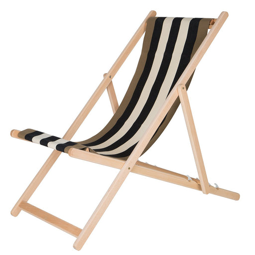 Les Toiles Du Soleil Beige Striped Deck Chair