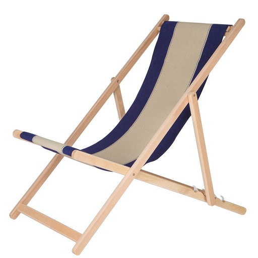 Les Toiles Du Soleil Blue and Cream Deck Chair