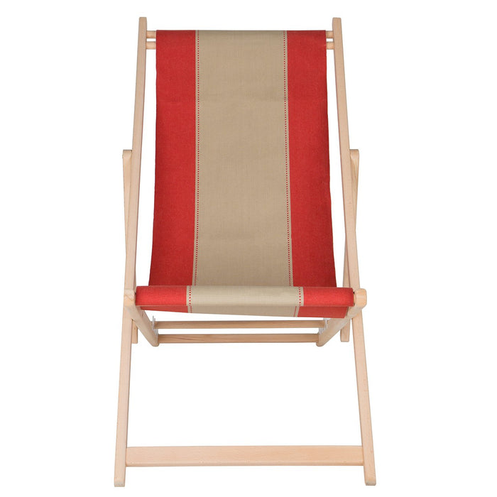 Les Toiles Du Soleil Red and Cream Deck Chair