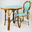 Light Azure & White Mediterranean Bistro Table (2 Seater)