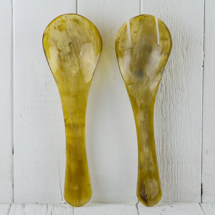 Light Brown Antelope Horn Salad Servers