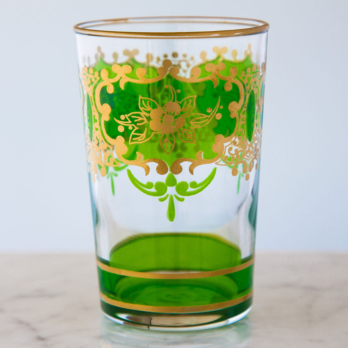 Light Green and Gold Ornate Moroccan Tea Glass