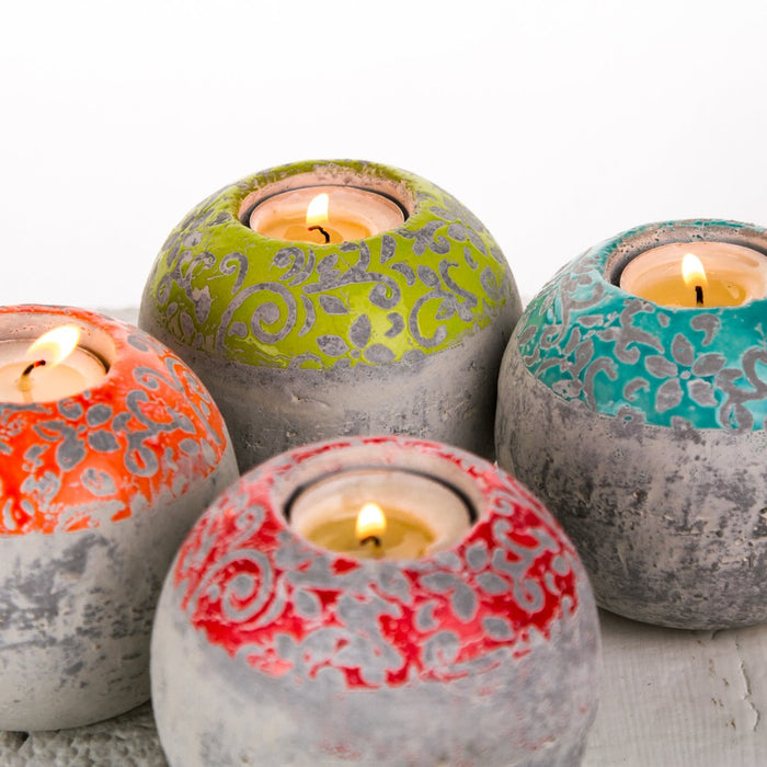 Lime Green Round Concrete Tea Light Candle Holder