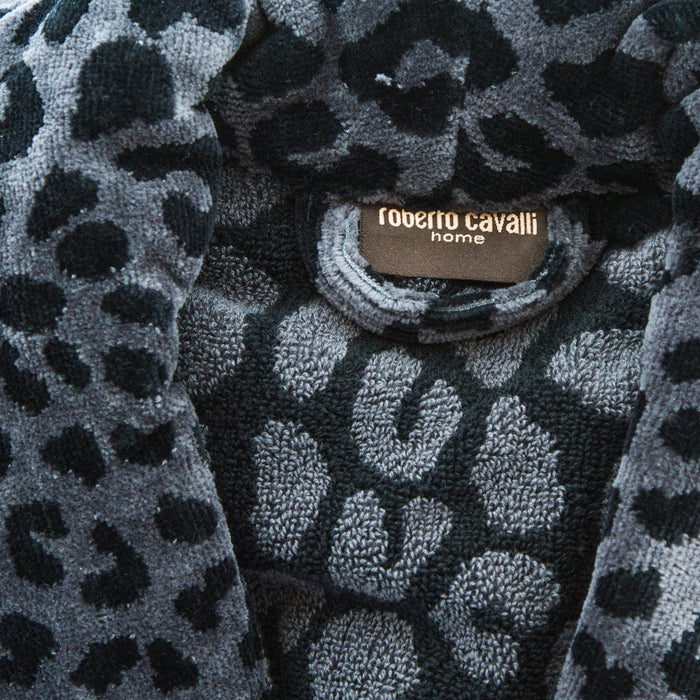 (L/XL) Roberto Cavalli Black Leopard Leo Shawl Collar 100% Cotton Bathrobe