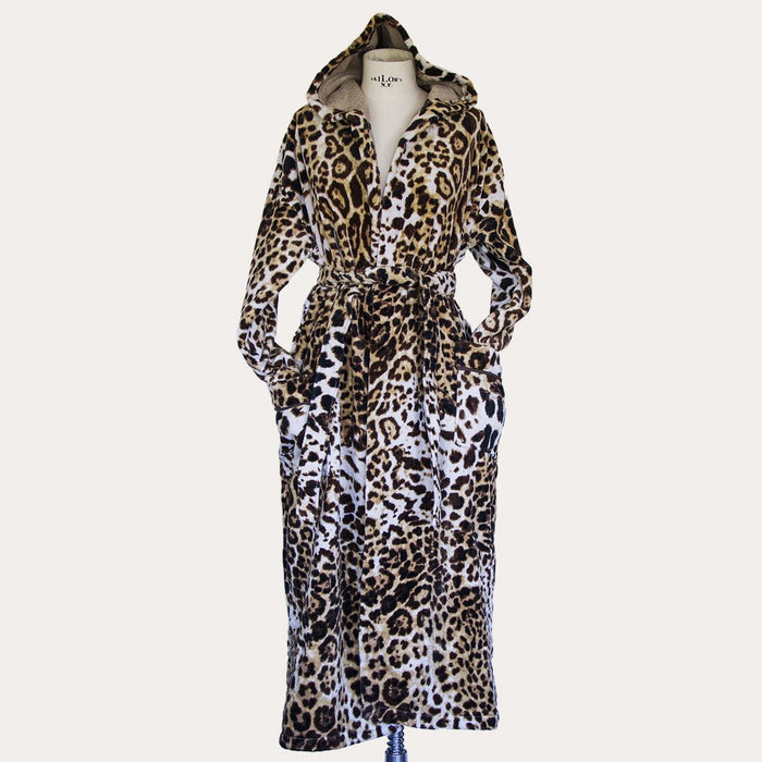 (L/XL) Roberto Cavalli Bravo Leopard 100% Cotton Bathrobe with Hood