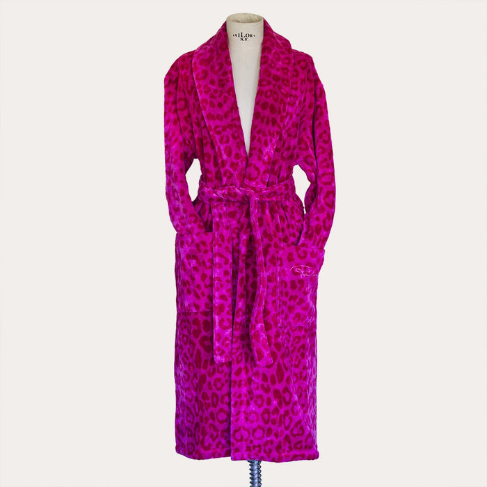 (L/XL) Roberto Cavalli Pink Leopard Leo Shawl Collar 100% Cotton Bathrobe