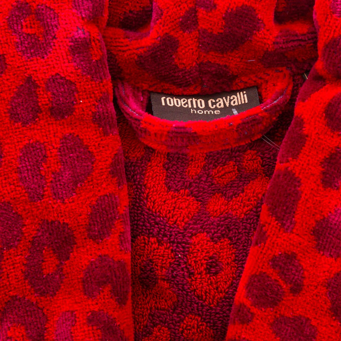 (L/XL) Roberto Cavalli Red Leopard Leo Shawl Collar 100% Cotton Bathrobe