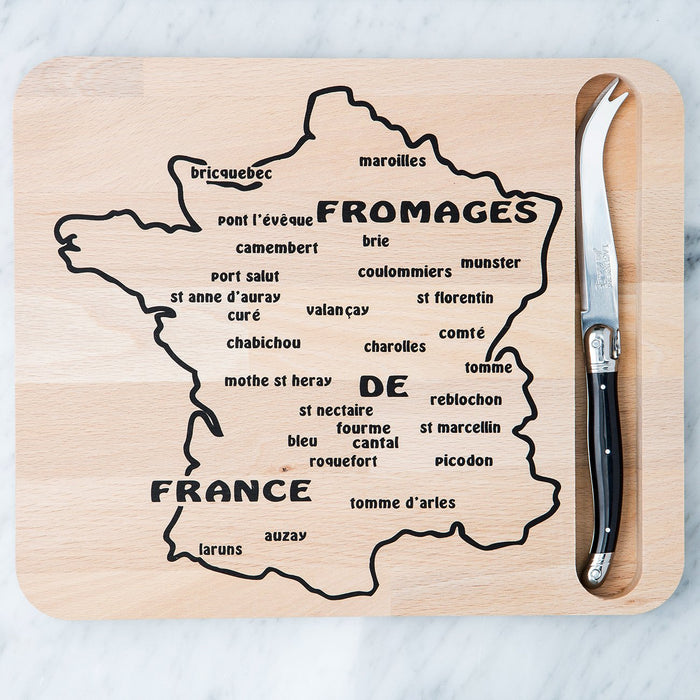 Map Cutting Board and Black Laguiole Knife