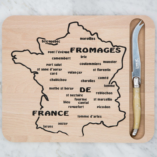 Map Cutting Board and Cream Laguiole Knife