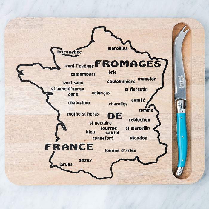 Map Cutting Board and Turquoise Laguiole Knife