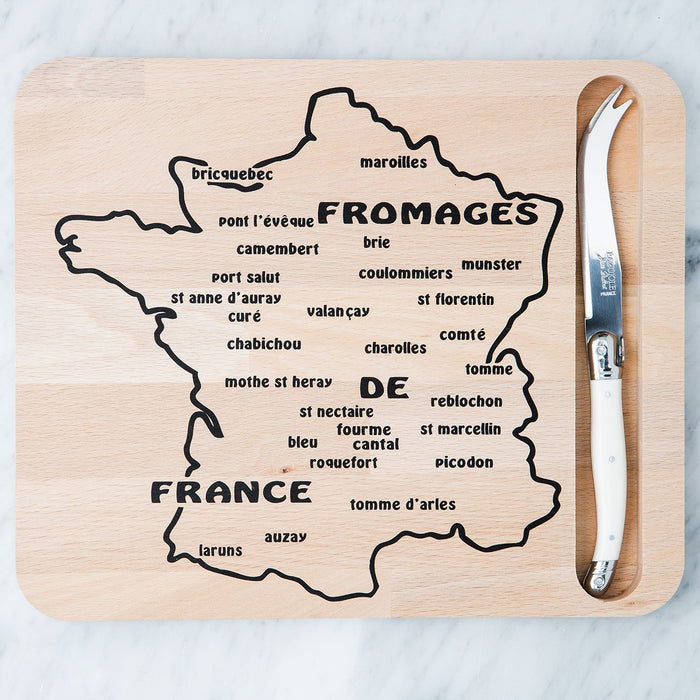 Map Cutting Board and White Laguiole Knife