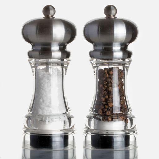 Marlux Acrylic Salt & Pepper Mill with Matte Stainless Steel Top (with salt / pepper)