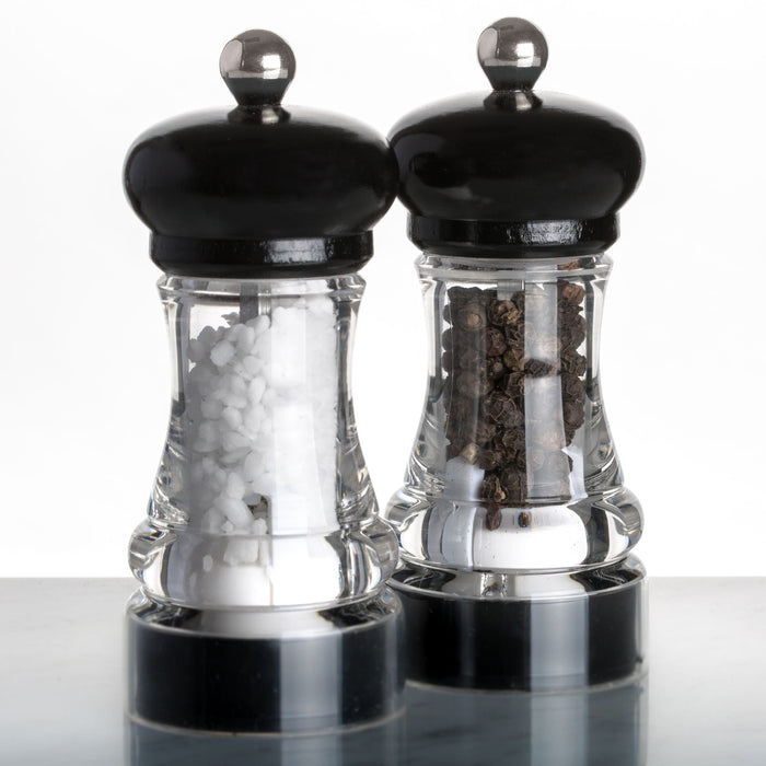 Marlux Black Salt Grinder with Lacquered Beech Wood Top (with salt)