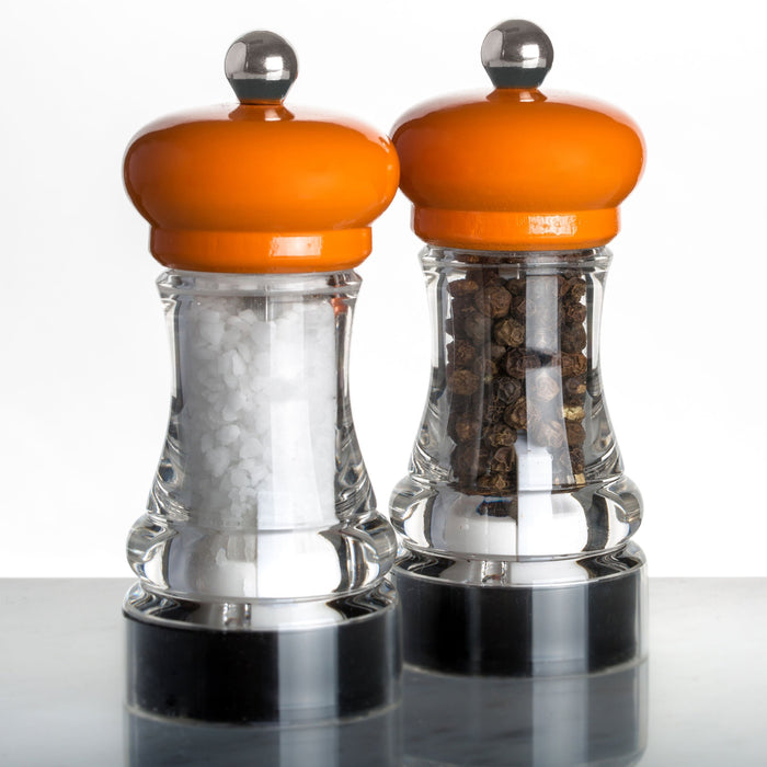 Marlux Orange Salt Grinder with Lacquered Beech Wood Top (with salt)