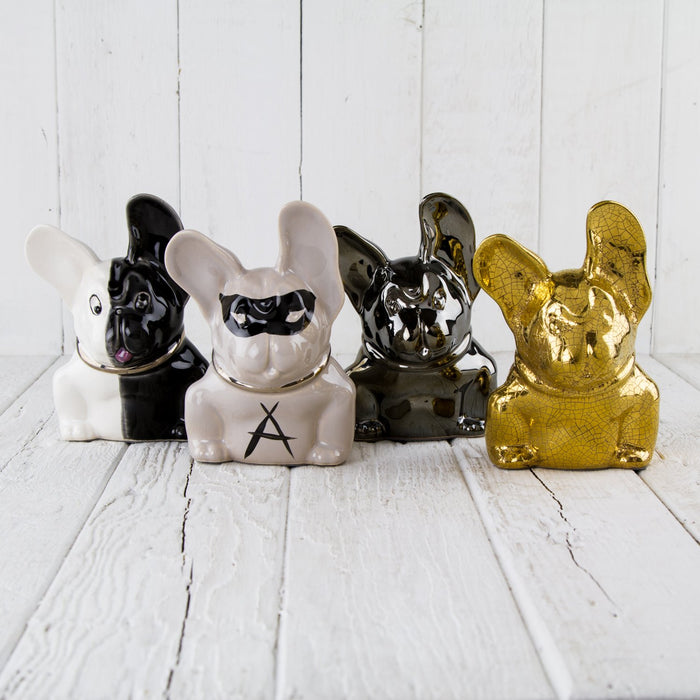 Masked White French Bulldog Figurine
