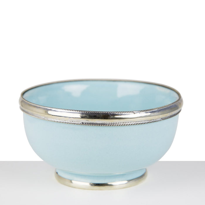 Medium Baby Blue Ceramic Bowl With Metal Filigree
