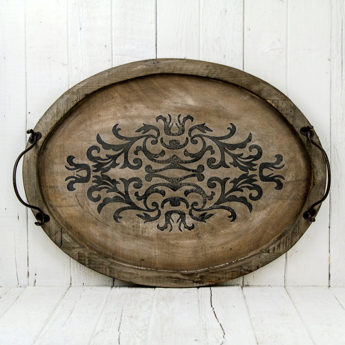 Medium Oval Distressed Arabesque Serving Tray