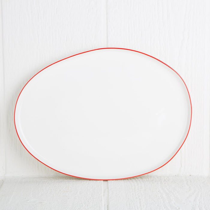 Medium Red Rimmed Serving Platter