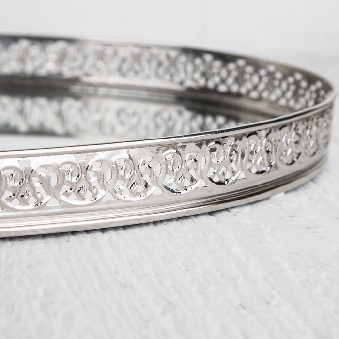 Medium Silver Moroccan Tray