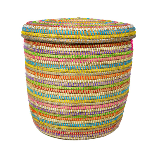 "Multi African Basket Hamper With Lid - Small (15""h)"