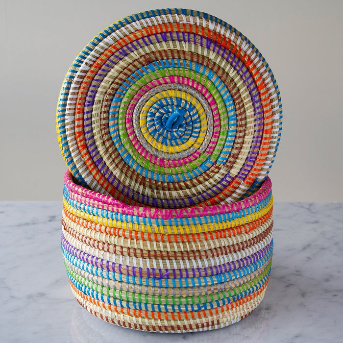 "Multi African Basket With Lid - Medium (5.75""h)"
