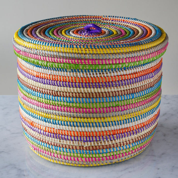 "Multi African Basket With Lid - Large (9.5""h)"