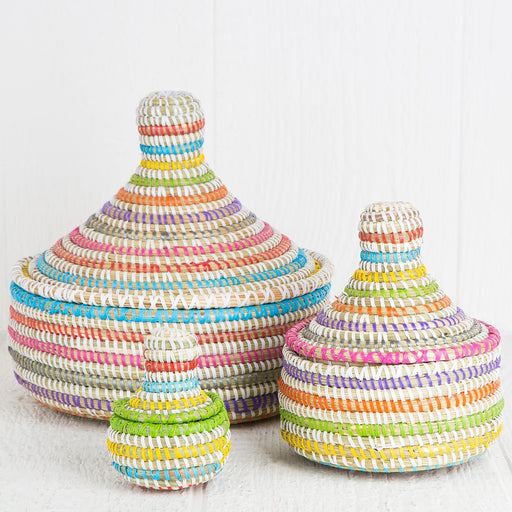 Multi Colored African Nesting Boxes With Lid