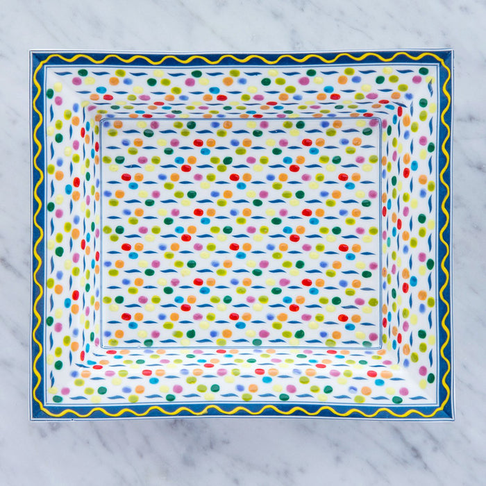 Multi Colored Polka Dot Decorative Tray