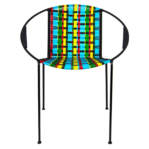 Multi Kente Woven Artisan Metal Armchair