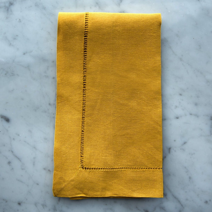 "Mustard Yellow Cotton Hemstitch Napkin (20"")"