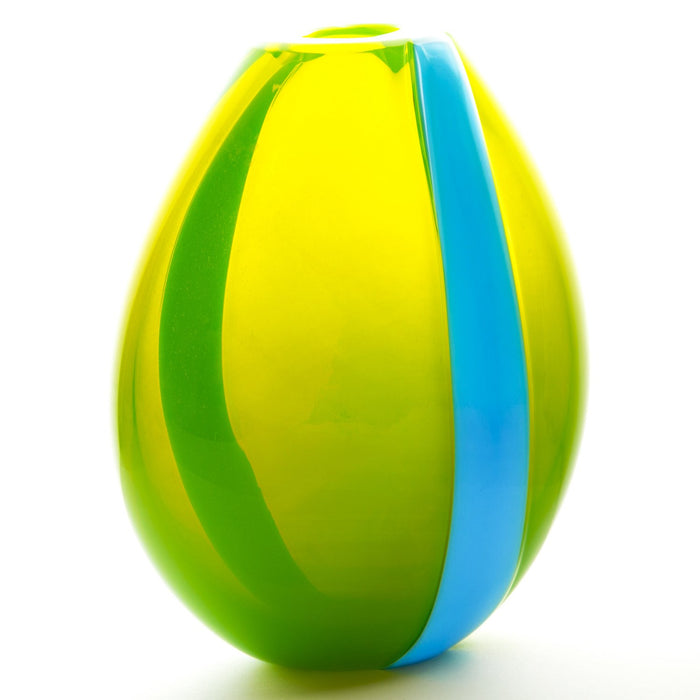 NasonMoretti Acid Green & Light Blue Mouth Blown Murano Vase