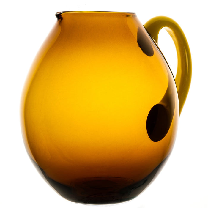 "NasonMoretti Amber & Yellow Handle Mouth Blown Dandy Pitcher (7.5"" h)"