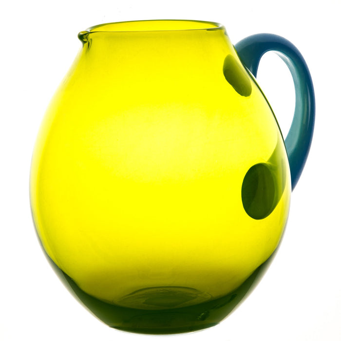 "NasonMoretti Green & Light Blue Handle Mouth Blown Dandy Pitcher (7.5"" h)"