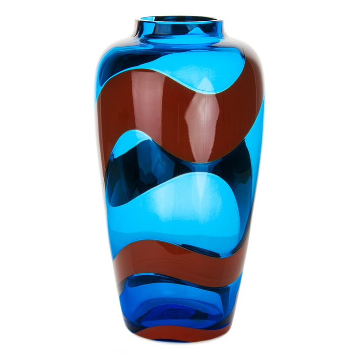 "NasonMoretti Medium Turquoise & Coral Mouth Blown Murano Vase (11.5"" h)"