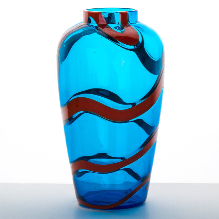 "NasonMoretti Small Turquoise & Coral Mouth Blown Murano Vase (7.5"" h)"