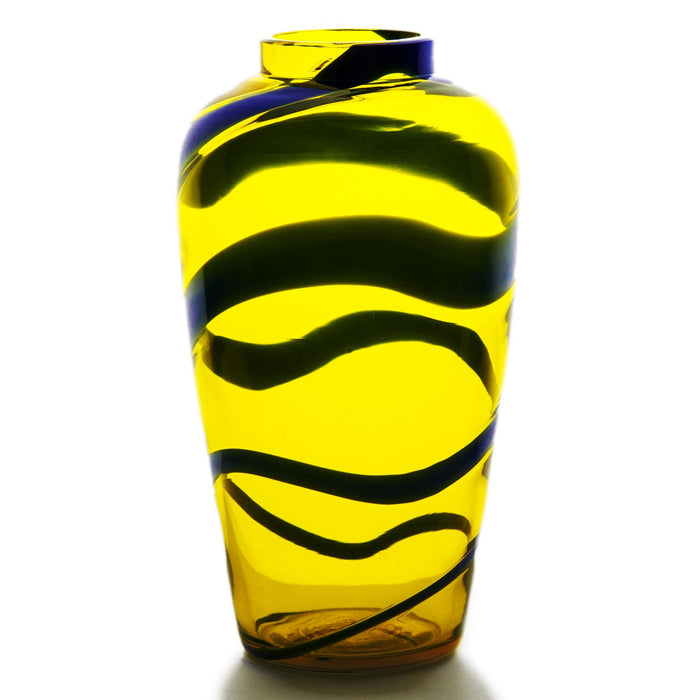 "NasonMoretti Small Yellow & Blue Mouth Blown Murano Vase (7.5"" h)"