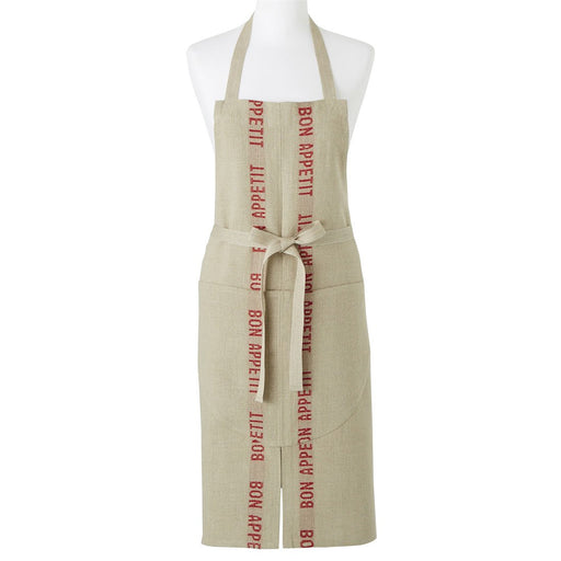 Natural and Red 'Bon Appetit' Linen Apron