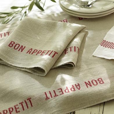 Natural and Red 'Bon Appetit' Linen Table Runner